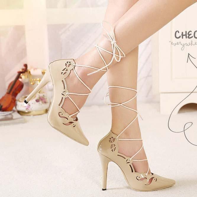 CH2283-15 Pantofi cu toc inalt si prindere cu sireturi