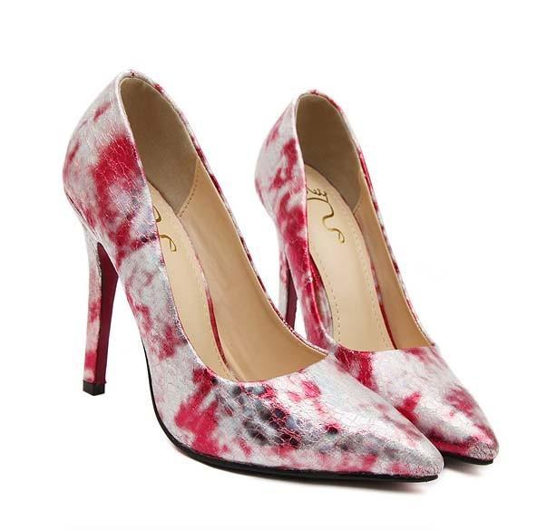 CH2324-3 Pantofi stiletto si print colorat