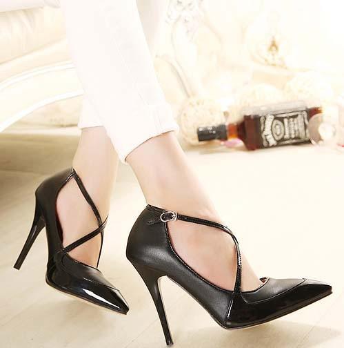 CH2293-1 Pantofi stiletto eleganti cu barete in X, in fata