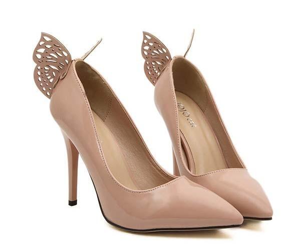 CH2265-15 Pantofi eleganti cu toc inalt si fluturas la spate