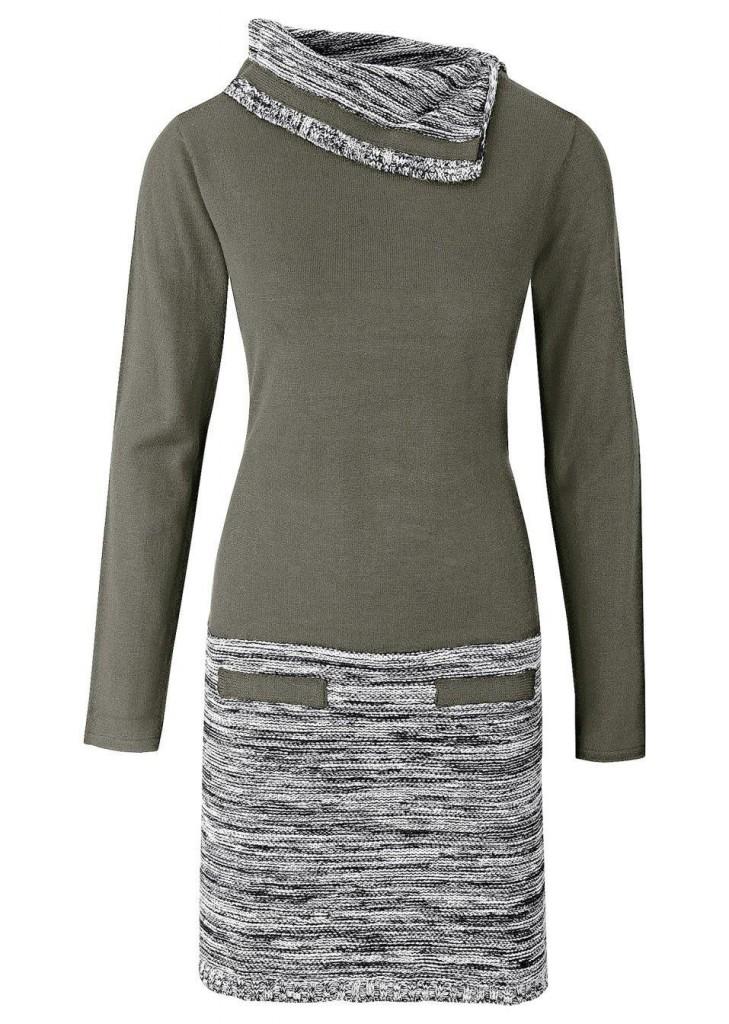 bonprix Rochie tricotată cu mâneci lungi bonprix