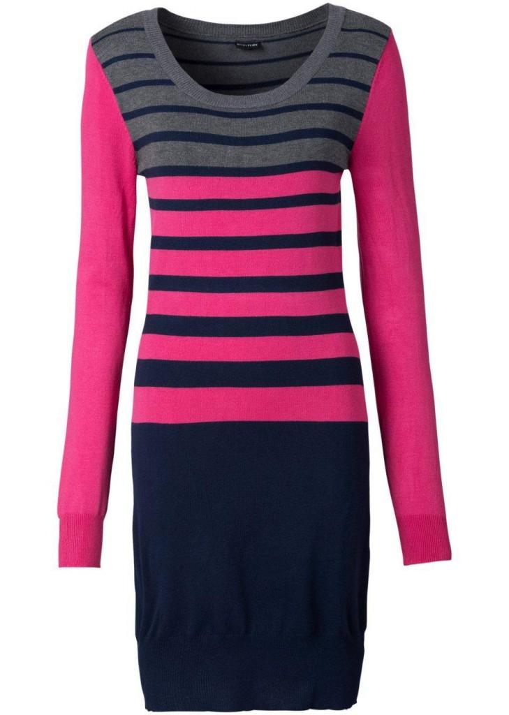 bonprix Rochie tricotată cu dungi bonprix