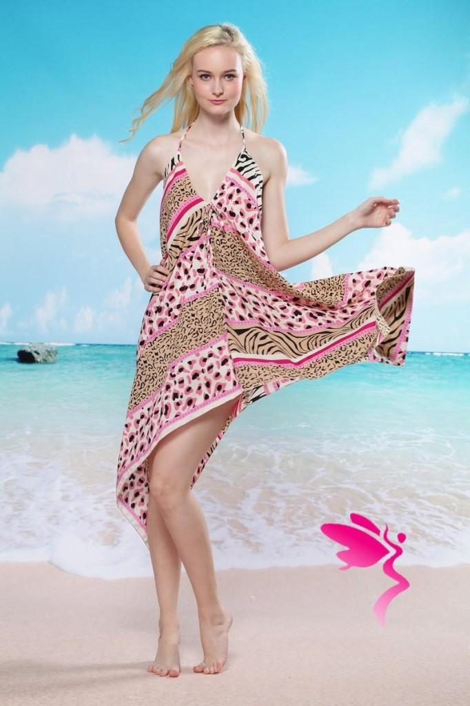 RV85 Rochie de plaja cu model colorat