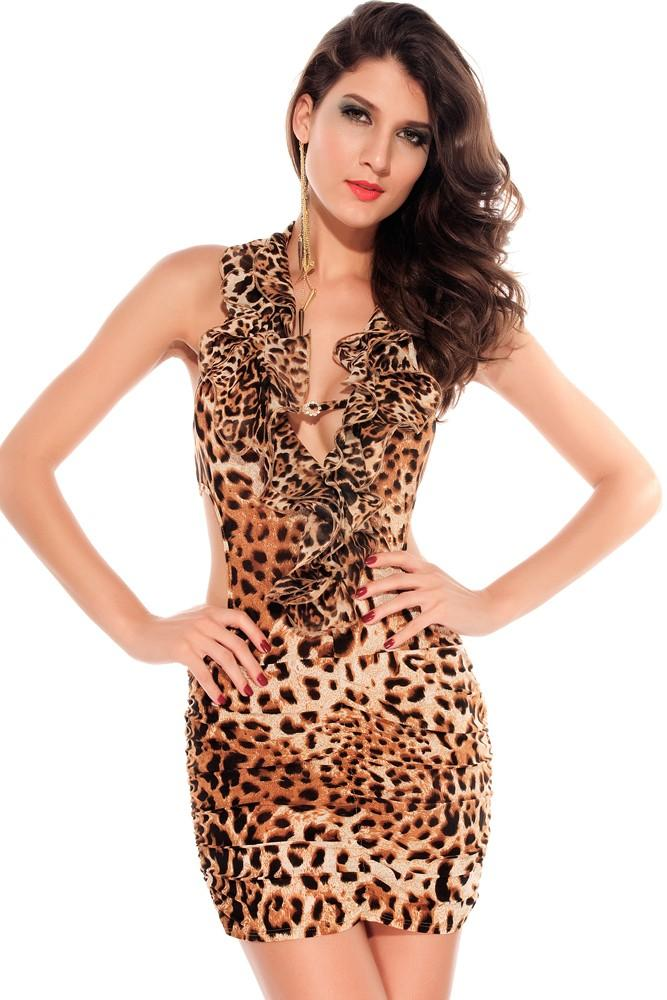 C193 Rochie sexy de club cu model animal print